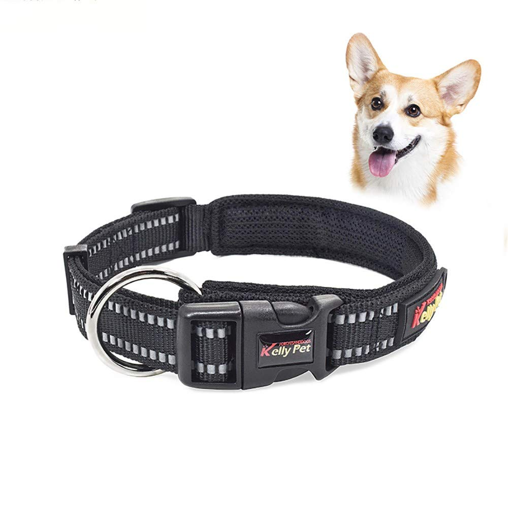 Black SmallDog Collar Durable Breathable Reflective Dog Leash Adjustable ORing Reflective Wire Dog Chain Pet Supplies