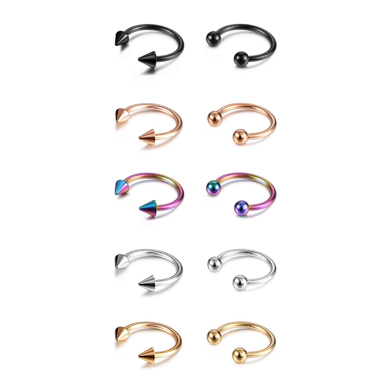 Milacolato 16G Lip Rings 316L Stainless Steel Tragus Nose Piercing Horseshoe Barbell Septum Piercing U Shape Septum Rings Labret Piercing Jewelry for Women 24 Pcs