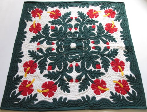 Hawaiian Quilt Wall Hanging - Hawaiian Quilt, Wall Hanging, Baby Crib Blanket, 100% Hand Quilted and 100% Hand Appliqued 42