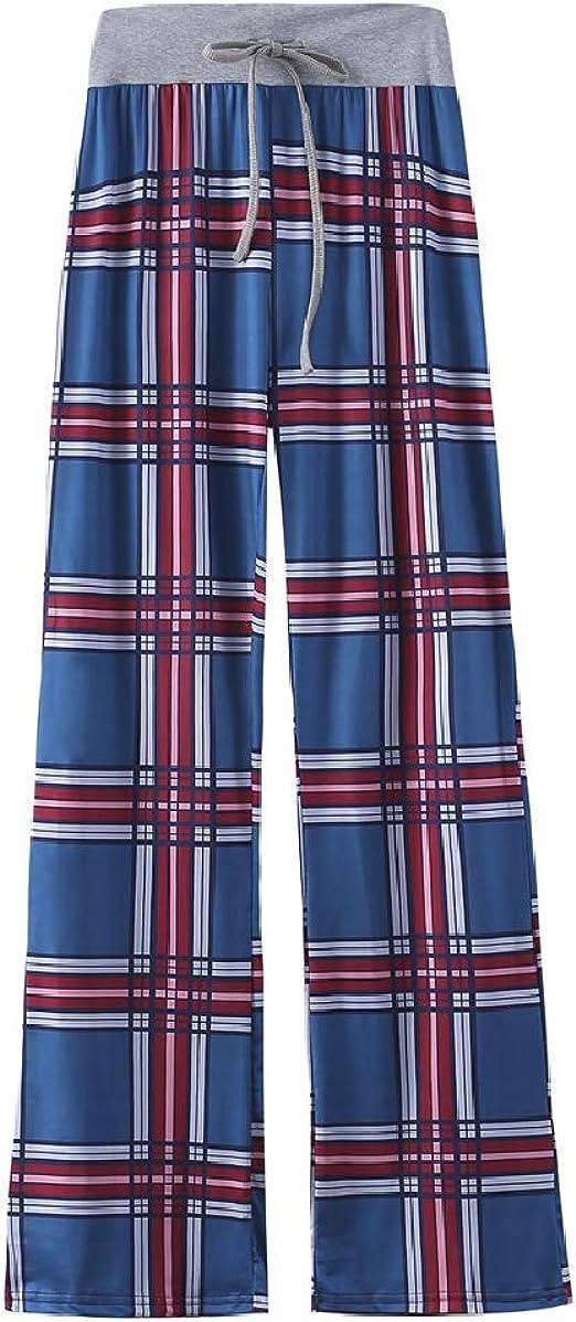 cheelot Women's Plaid Floral Printed Straight Cotton Drawstring Leg Pants