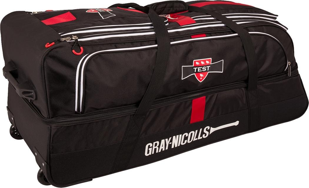 Gray-Nicolls Test Cricket Wheelie Borsone Sportivo Team Kit, Colore: Nero/Rosso/Bianco Only Cricket