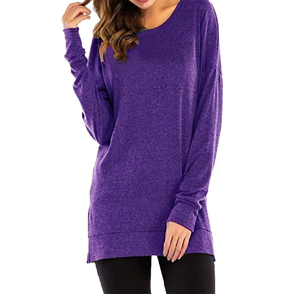 ✔ Hypothesis_X ☎ Women's Summer Solid Color Round Neck Long Sleeve Blouse Tops Loose Casual Sweatshirts Purple by ✔ Hypothesis_X ☎ Top