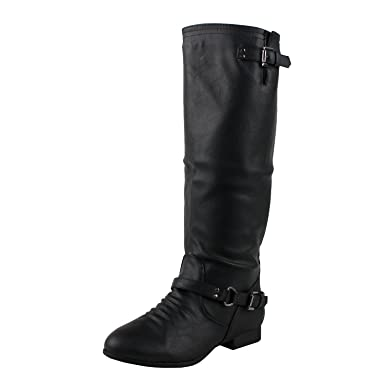 Amazon.com: Top Moda Women's Knee High Riding Mid Calf Combat ...