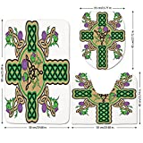 3 Piece Bathroom Mat Set,Celtic,Celtic-Knot-Design-Christian-Cross-Icon-Wreath-Flowers-Retro-Floral-Welsh-Pattern,Mustard-Green.jpg,Bath Mat,Bathroom Carpet Rug,Non-Slip