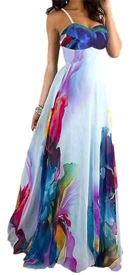 415b69fe6d4e Sayhi Womens Summer Spaghetti Strap Floral Print Swing Maxi Beach Dress  Light Blue XS