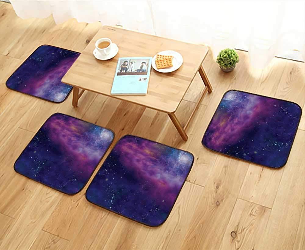 Printsonne Chair Cushions Spiritual Dim Star Clusters Milky Circle Back with Solar System Elements Non Slip Comfortable W25.5 x L25.5/4PCS Set