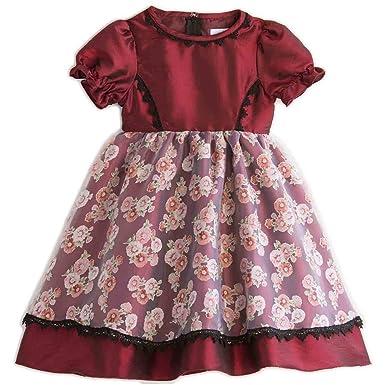 6c0795e5d22e1 Catherine Cottage 結婚式 発表会 子供ドレス クラシカルデイジー柄 オーガンジー ドレス CC0321 100cm ボルドー