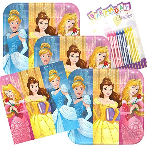 - Lobyn Value Pack Disney Princess Dream Big Party Plates and Napkins Serves 16 with Birthday Candles