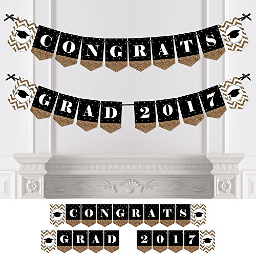Gold Tassel Worth The Hassle - Graduation Party Bunting Banner - Congrats Grad 2017