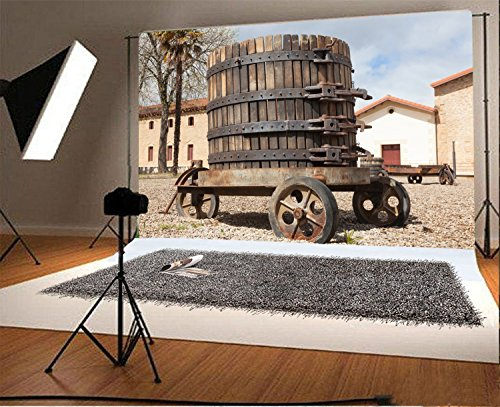 Laeacco 7x5FT Vinyl Photography Background Country Rural Ancient Wine Press Old Town House Tree Scenery Children Adults Party Event Shooting Studio Props - Townhouses Old