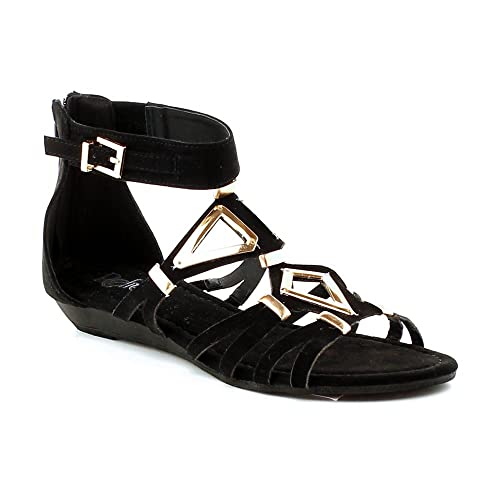 91b8f9a2811 WestCoast Mosso-02 Women s Ankle Strap Thong With Two Adjustable Buckles  Accent Summer Gladiator Flat