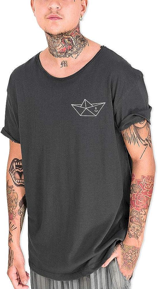VIENTO Anchored Paper Ship Camiseta Cuello Abierto para Hombre