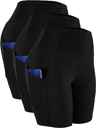 Cadmus Women's High Waist Spandex Yoga Shorts for Bike Running Two Side Pockets