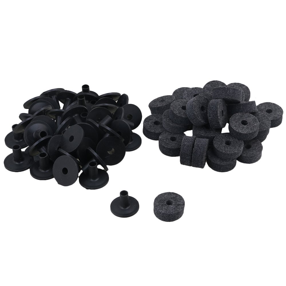 Mxfans 10 Pieces Black Drum Parts Felt Washers & Long Flanged Cymbal Sleeves blhlltd M3180116010