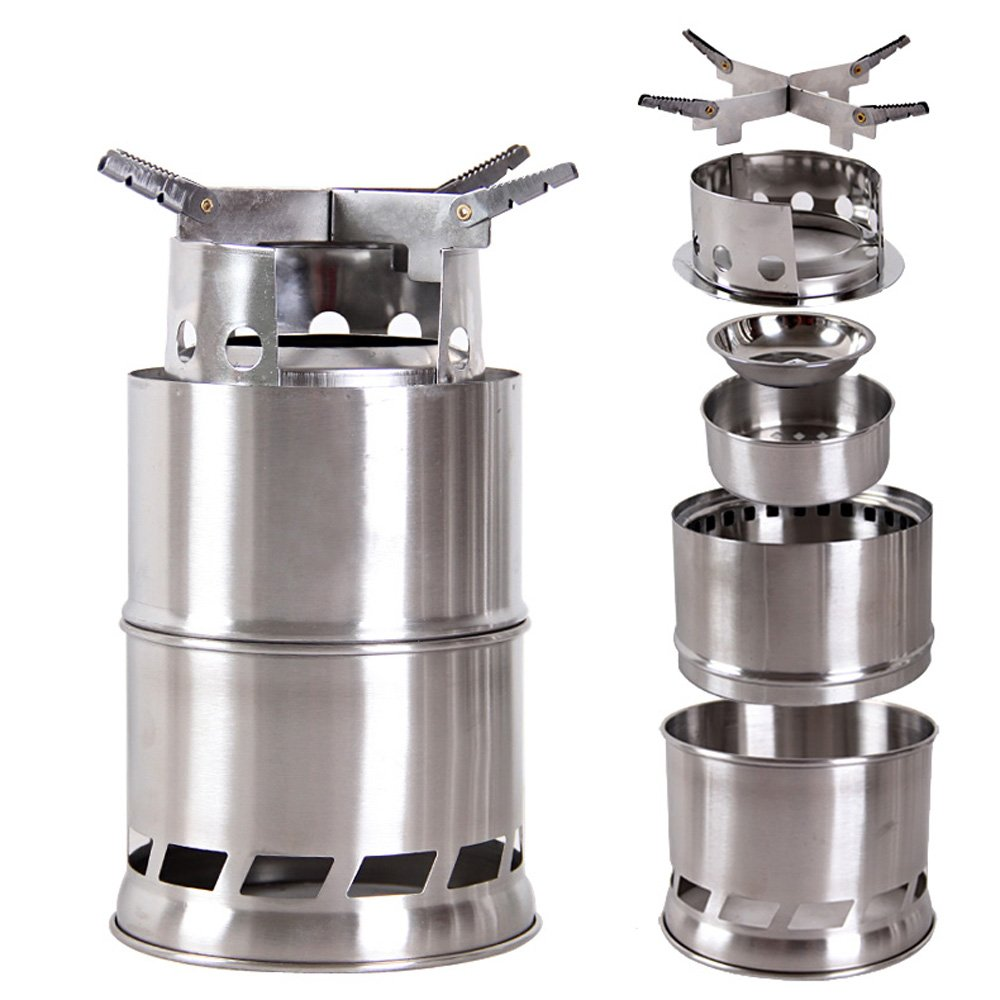 Lixada Camping Stove,Ultralight Folding Stainless Steel Wood Stove Pocket Alcohol Stove Outdoor Camping Fishing Hiking Backpacking