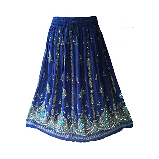 1dafc64c826 Image Unavailable. Image not available for. Color  4Rissa Indigo Blue  Indian Sequin Bohemian Boho Hippie Gypsy Fashion Womens Maxi Skirt
