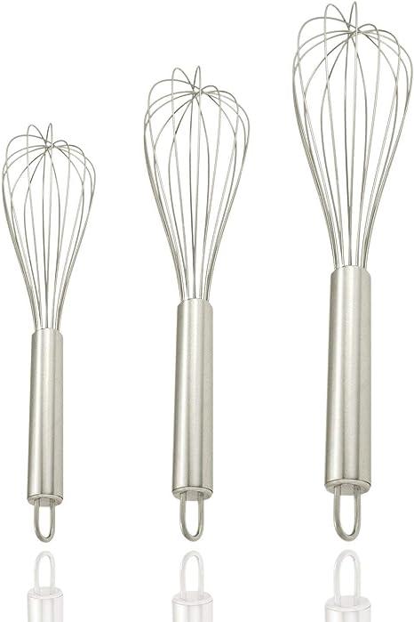Milch Silikon K/üchenutensil zum Mischen Eier ODN K/üchen Schneebesen mit Karottengriff Ballonschneebesen