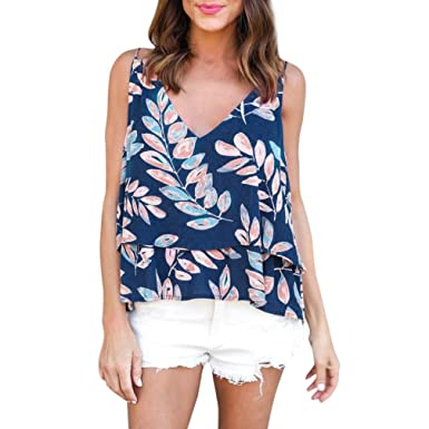Crop Tops, FORUU Women Summer Casual Chiffon Printed V Neck Layered Sling Tank