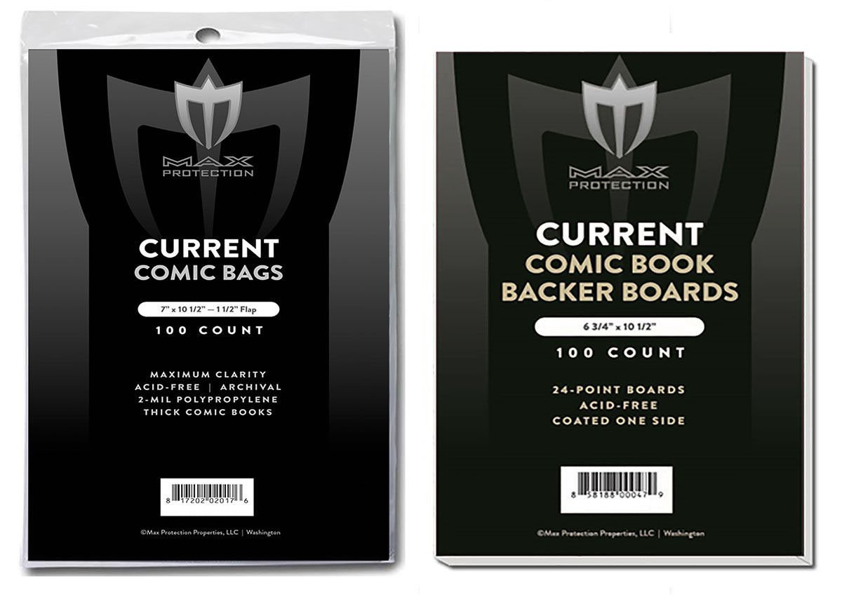 (500) Current Size THICK Ultra Clear Comic Book Bags and Boards - by Max Pro (Qty= 500 Bags and 500 Boards)