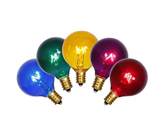 Northlight Pack Of 5 Transparent Multi Color G40 Globe Christmas Replacement Light Bulbs