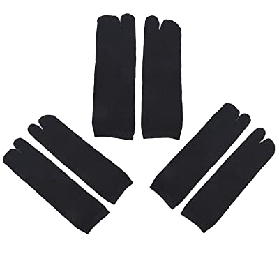 StyleZ 3 Pairs Unisex Japanese Tabi Socks Kimono Geta Clog Flip Flop Black Split Toe Cosplay (3pairs Black): Clothing