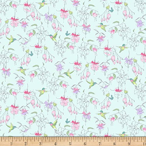 Clothworks 0562181 Fuchsias and Hummingbirds Light Teal Fabric by the Yard