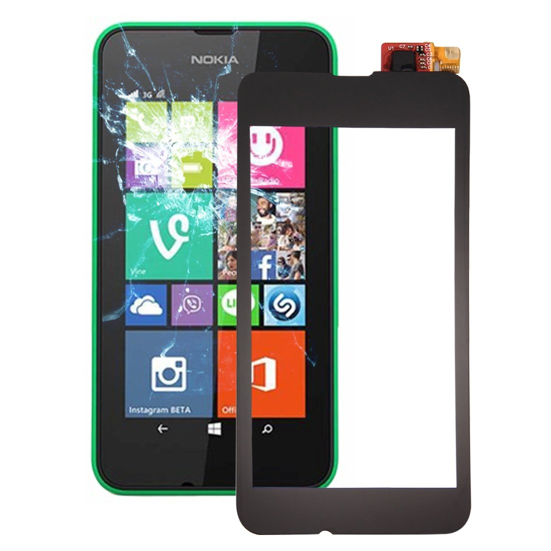 JUNXI Phone Touch Panel for Nokia Lumia 530 (Black) (Color : Black) by JUNXI