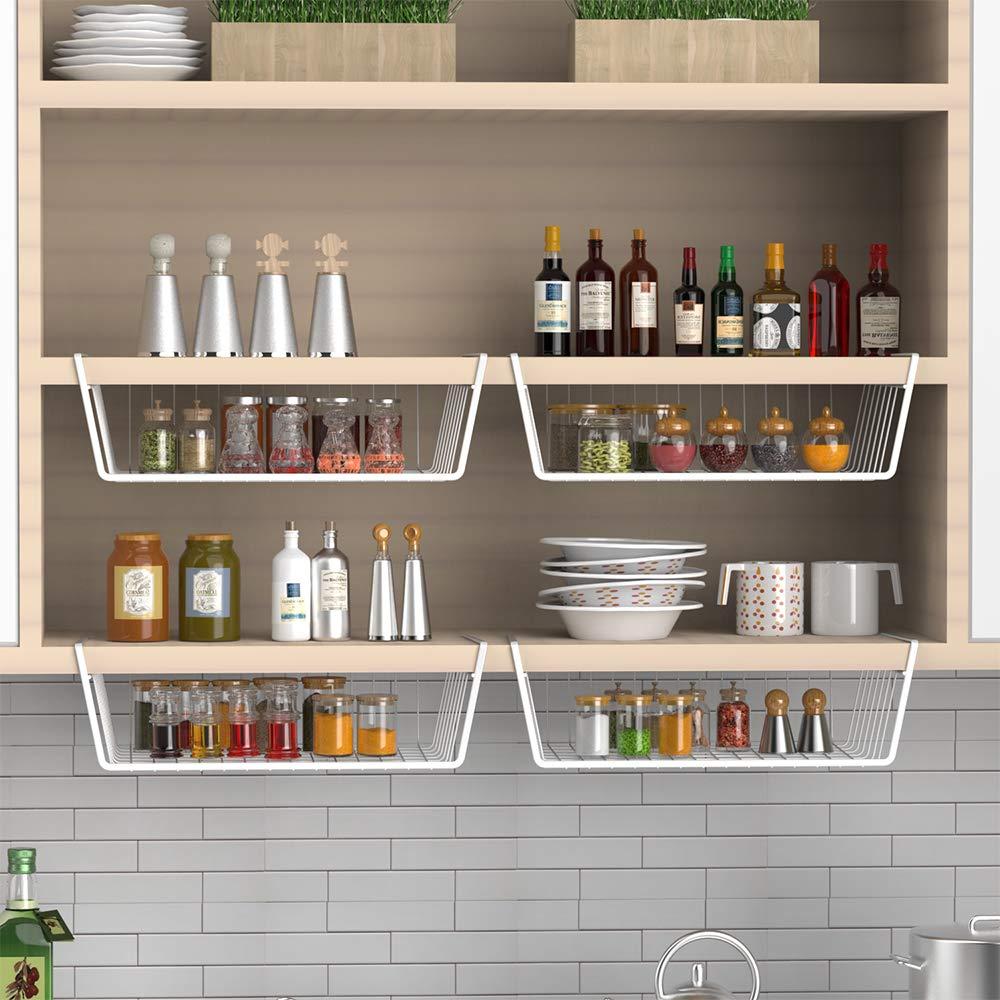 iSPECLE 4 Pack White Wire Rack Wire Basket Under Shelf For Storage Under Shelf Basket Easy to Install