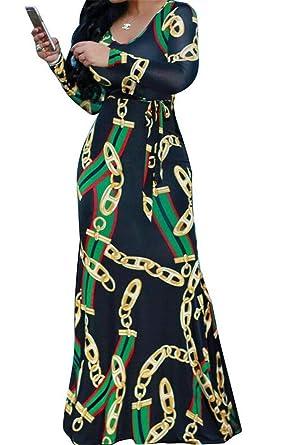 528e28cf6ac3 Domple Women Stylish Crew Neck Long Sleeve Floral Print Slim Fit Patchwork  Slim Fit Maxi Dress