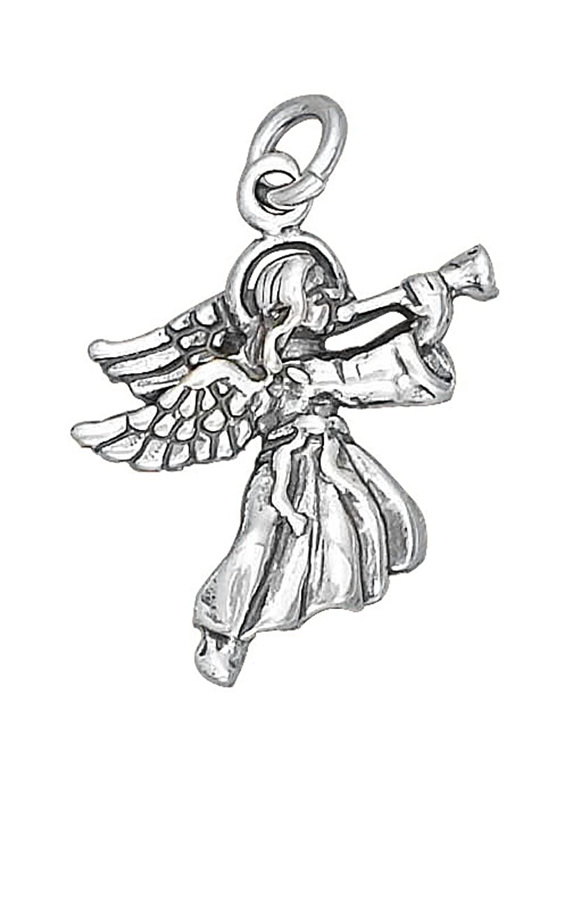 Sterling Silver 7 4.5mm Charm Bracelet With Attached Trumpeting Angel Charm