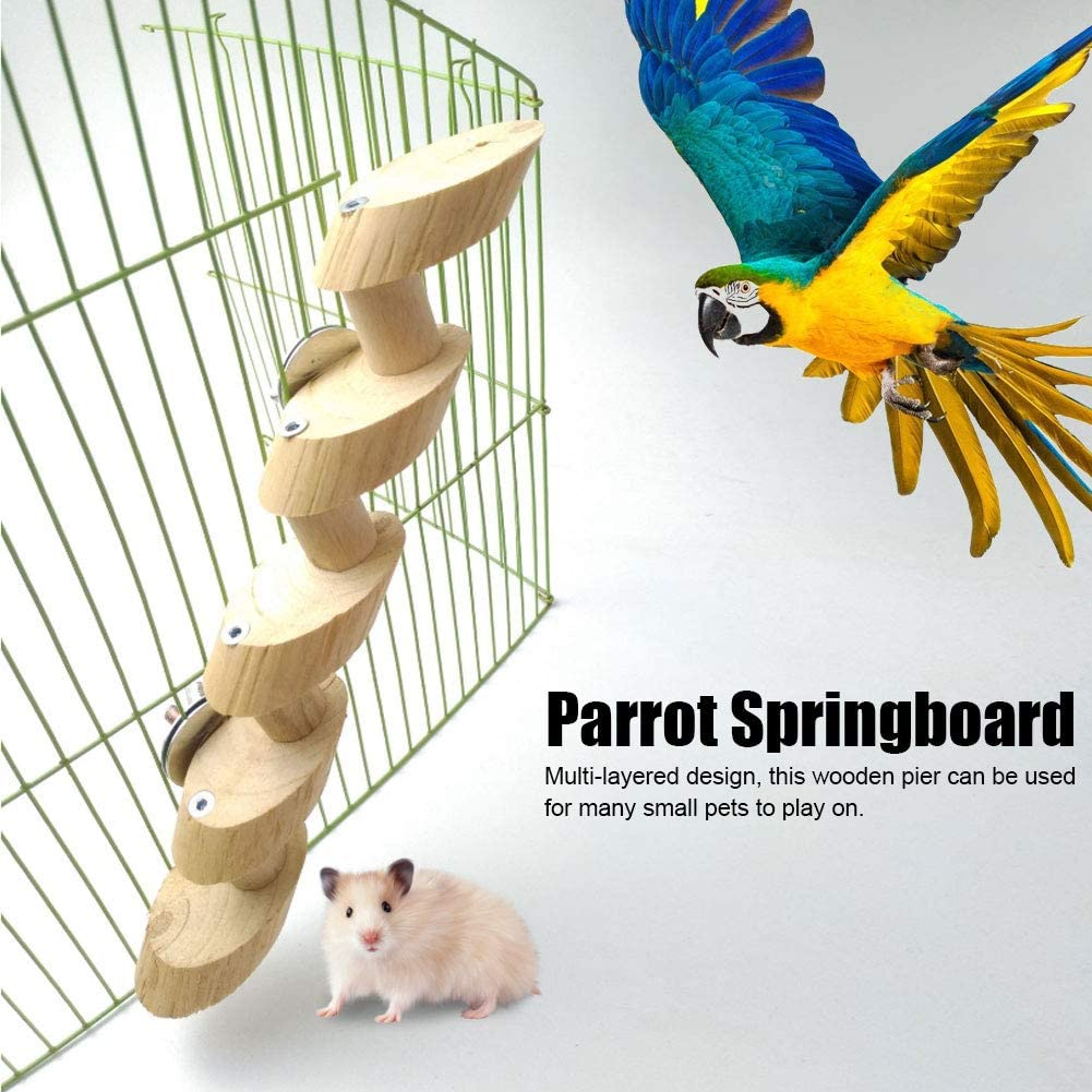 Parrot Springboard Hamster Wooden Pier Pet Climbing Ladder Bird Standing Stairs Parrot Platform Small Pet Ladder for Cage