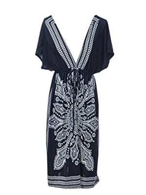 Anna-Kaci S/M Fit Black White Ethnic Inspired Tribal Kimono Dress w Deep V-Neck