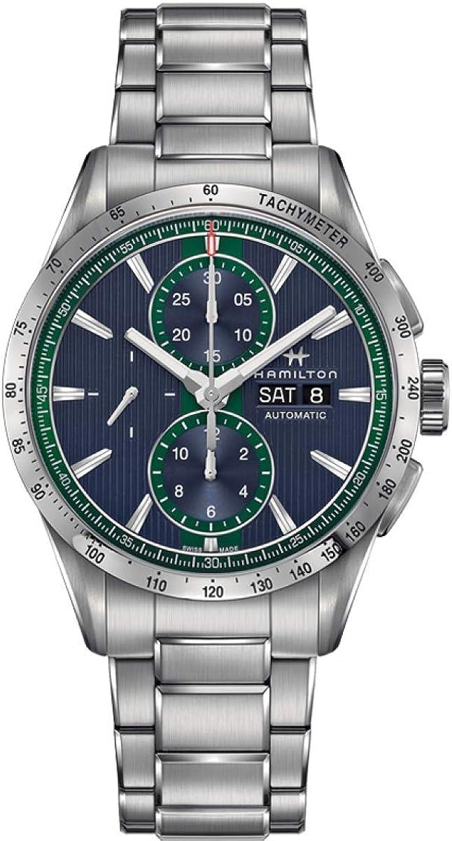 Hamilton Broadway AutoChrono/reloj para hombre/esfera azul con detalles verdes/caja y pulsera de acero/ref. H43516141.