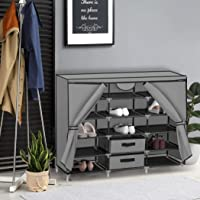 Shoe Rack DIY Portable Storage Cabinet Organiser Stackable Shelf Organizer Grey