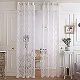 "R.LANG Solid Grommet Top Luxury Design Jacquard sheer Curtain 1 Pair Cream White 46""W X 72"" L"