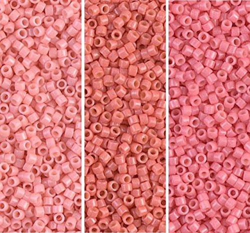 Miyuki Delica Seed Beads Bundle: Size 11/0, Duracoat Opaque Lychee (DB2113), Lt Watermelon (DB2114) & Guava (DB2115) - 3 Tubes of 7.2 Grams ea