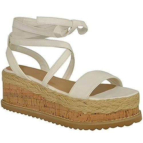 Fashion Thirsty Mujer Corcho Forma Plana Alpargatas Sandalias De Cuña Tobillo Zapatos con Cordones Talla: Amazon.es: Zapatos y complementos