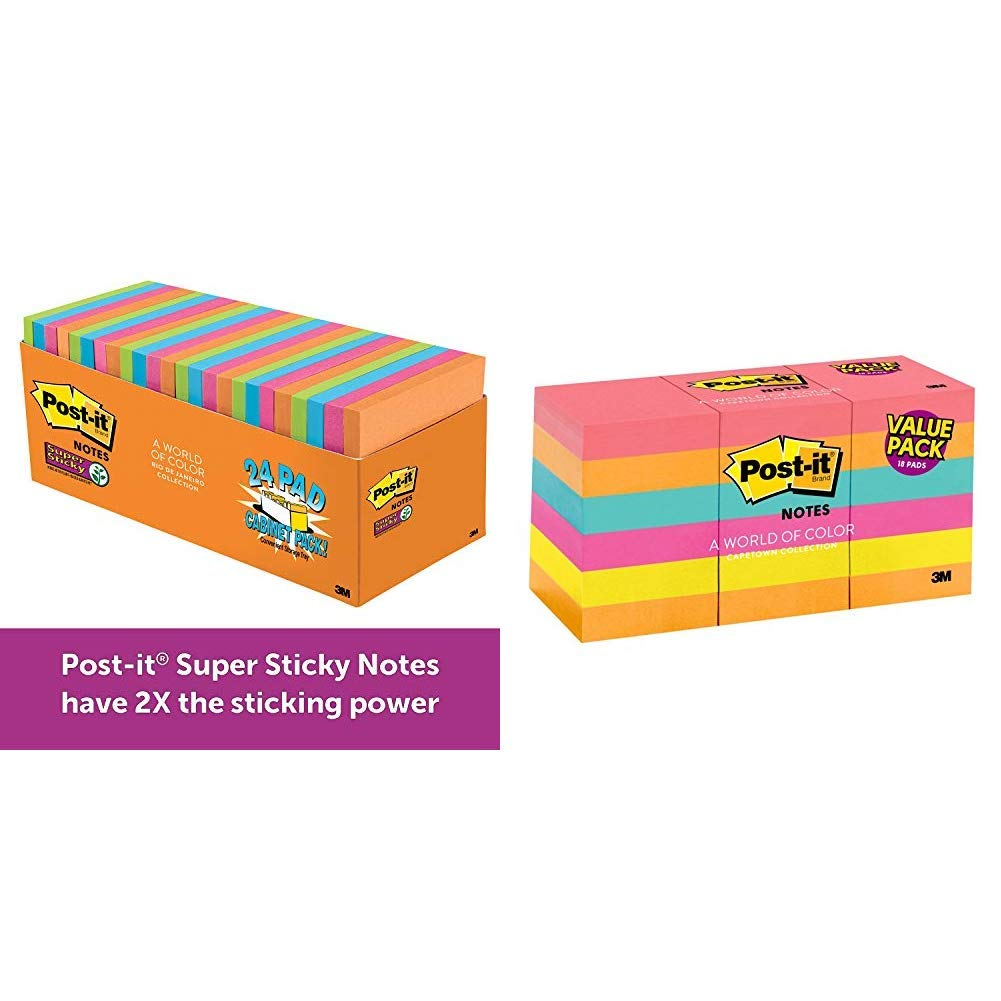Post-it Super Sticky Notes, Orange, Green, Blue, Pink, Yellow, 2X the Sticking Power, 3 in. x 3 in, 24 Pads/Pack &  Brights, Great for Reminders, Recyclable, 1 3/8 in. x 1 7/8 in, 18 Pads/Pack by Post-it