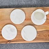 NikkisPride White Marble Tea/Coffee/Cocktail Coaster Set of 6 for Drinks-Hot & Cold Coaster Set of 6