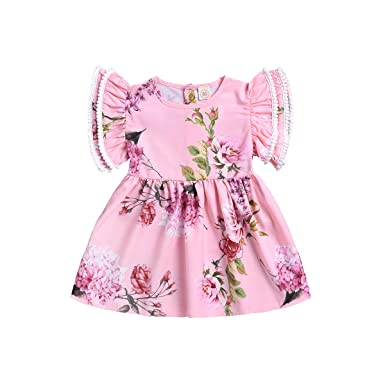 852ea1057695f YOUNGER TREE Toddler Baby Girl Short Outfits Ruffle Sleeve T-Shirt Top  Overalls Bowknot Floral