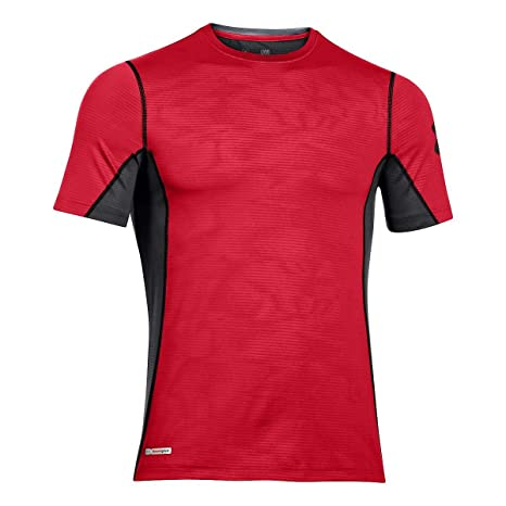 Under Armour Mens Fitted Active Heatgear Short Sleeved Crew Neck Shirt Size Med. Activewear Tops