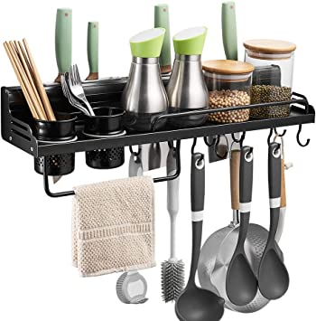 Amazon Com Besy Multifunctional Kitchen Wall Storage Pot Lid Rack Hanging Pot Rack Organizers Wall Mounted Kitchen Cooking Utensil Holder Caddy With Bottle Rack Knife Pan Hanger With 10 Hooks Matte Black Home