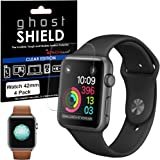 Apple Watch Screen Protectors, [Pack of 4] TECHGEAR® Apple Watch 42mm [ghostSHIELD Edition] Genuine Reinforced Flexible TPU Screen Protector Guard Covers with FULL Screen Coverage including Curved Screen Area [3D Curved Edges Protection] - for 42mm Apple Watch, Watch Sport, Watch Edition [Series 3, Series 2 & Series 1]