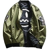 Sodossny-AU Mens Oversize Autumn Smiley Print Loose Bomber Jacket Coat Outwear