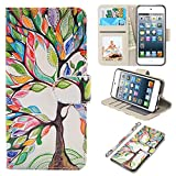 iPod Touch Case, UrSpeedtekLive iPod Touch 5 Case, iPod Touch 6 Case, Premium PU Leather Wristlet Flip Case Cover with Card Slots & Stand for Apple iPod Touch 5/6, Loving Tree
