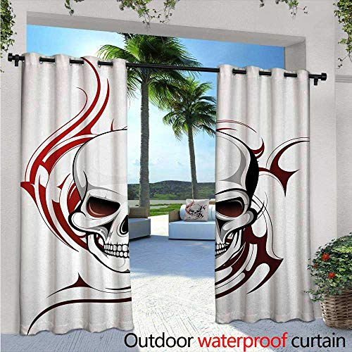 Tribal Flame Designs - Tattoo Outdoor Privacy Curtain for Pergola W84 x L108 Scary Fierce and Wild Skull with Red Flames Tribal Artistic Tattoo Image Design Thermal Insulated Water Repellent Drape for Balcony Red and WHI