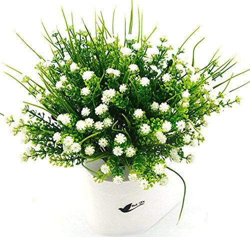 Bird Fiy Babys Breath Artificial Flowers,4 Bundles Gypsophila Flower Wedding Home Decor Gift(White)