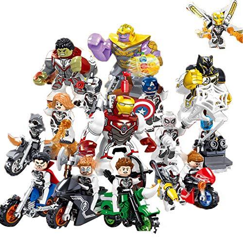 LOSHINE Super Heroes Mini Figures Building Blocks Set 16 Psc , Super Heroes Action Figures with Accessories