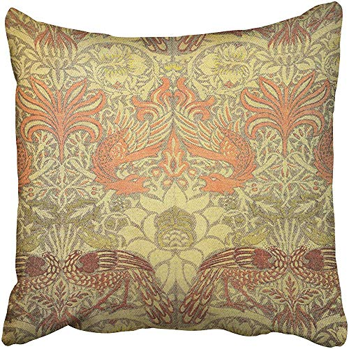 (William Morris Peacock and Dragon Pattern Cushions Case Throw Pillow Cover for Sofa Home Decorative Pillowslip Gift Ideas Household Pillowcase Zippered Pillow Covers 18X18 Inch)