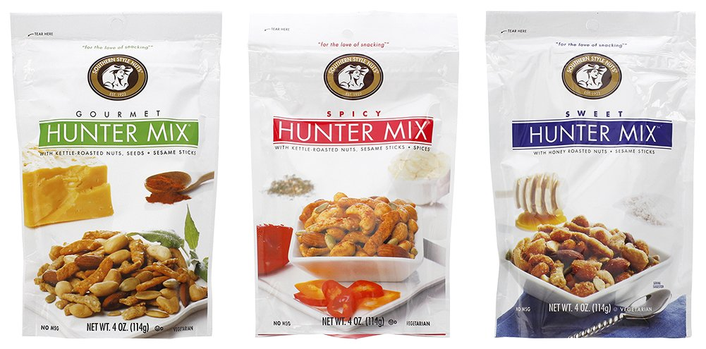 Southern Style Nuts Hunter Mix Bundle: Gourmet Hunter, Spicy Hunter, Sweet Hunter Mix - 4 oz Each